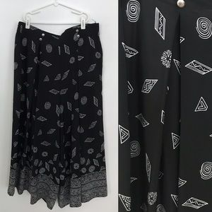 Black Wide Leg Gaucho Pant w/ White Tribal Pattern